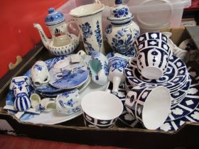 Delfts and Derby Style Ceramics, glass rolling pin, loom:- One Box.