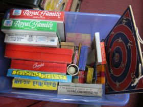 A Quantity of Vintage Juvenalia, to include Daily Mail jigsaw, Chinese Checkers, Ludo, Ships in