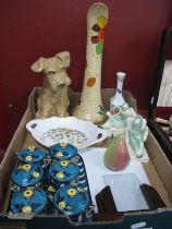 A Large Sylvac Style Terrier Dog, plus other ceramics including a decorative Victorian dressing