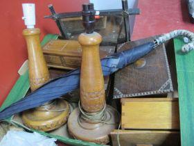 A XIX Century Rosewood Box, 1920's oak box, pair of oak table lamps::- One Box