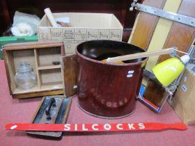 A Watts Trouser Press, angle poise lamp, oak cabinet, etc:- One Box.