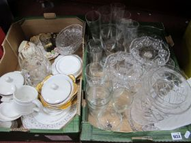 A Quantity of Ceramics, glassware:- Two Boxes.