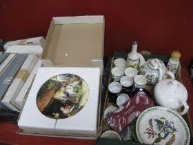Portmeirion 'Botanic Garden' Teapot, etc collectors plates, soap:- Two Boxes.