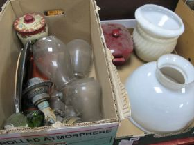 White Glass Ceiling Lights, glass funnels, etc:- Two Boxes.