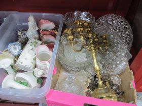 Glassware, brass candelabra, plated sugar caster, pottery jugs, etc:- Two Boxes.