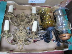 A Pair of Gilded Metal Twin Branch Wall Lights, a scroll arm wall light, two others having glass
