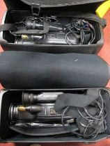 Two Mitsubishi C35 S-VHS-C Movie Camera, with auto focus, (cased):- One Box.