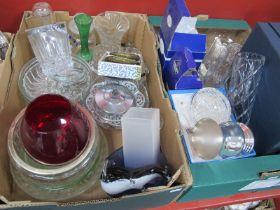 Garrard Plate Tankard, Royal Doulton vase, glass ware, etc:- Two Boxes.
