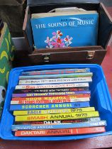 Meccano, Connect 4, other games, LPs and cassettes in vinyl cases, children's annuals.