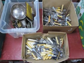 A Quantity of Cutlery, embossed bowl, other plated ware:- Three Boxes.