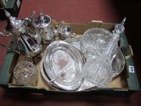 RCR Claret Jug, two rose bowls, three piece plated tea service, EHP plated tray, etc.