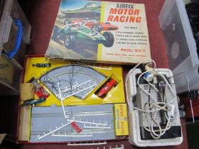 A Russian Portable T.V, Airfix motor racing model M.R.11 (completeness unknown). (2)