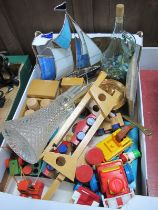 Model Yacht, wooden toys, marbles, copper pan. claret jug:- One Box