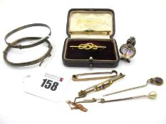 """A Single Stone Diamond Set Bar Brooch, stamped """"15c"""", in a fitted case; Together with An Opal and"""