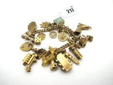 A 9ct Gold Curb Link Charm Bracelet, to 9ct gold heart shape padlock style clasp, suspending