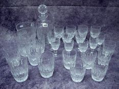 A Suite of Waterford Crystal 'Colleen' Pattern Glassware, to include a decanter and stopper, jug,