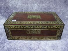 A Mid XIX Century Rosewood and Brass Marquetry Writing Box, the hinged cover enclosing a slope