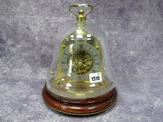 A Mappin & Webb 'Ships Bell' Striking Table Clock, the brass case with visible strike work and