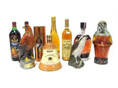 """Mixed - Golden Eagle Whisky Decanter, Bell's """"Bell"""", Beneagles Osprey Decanter, Old Monk Rum, Golden"""