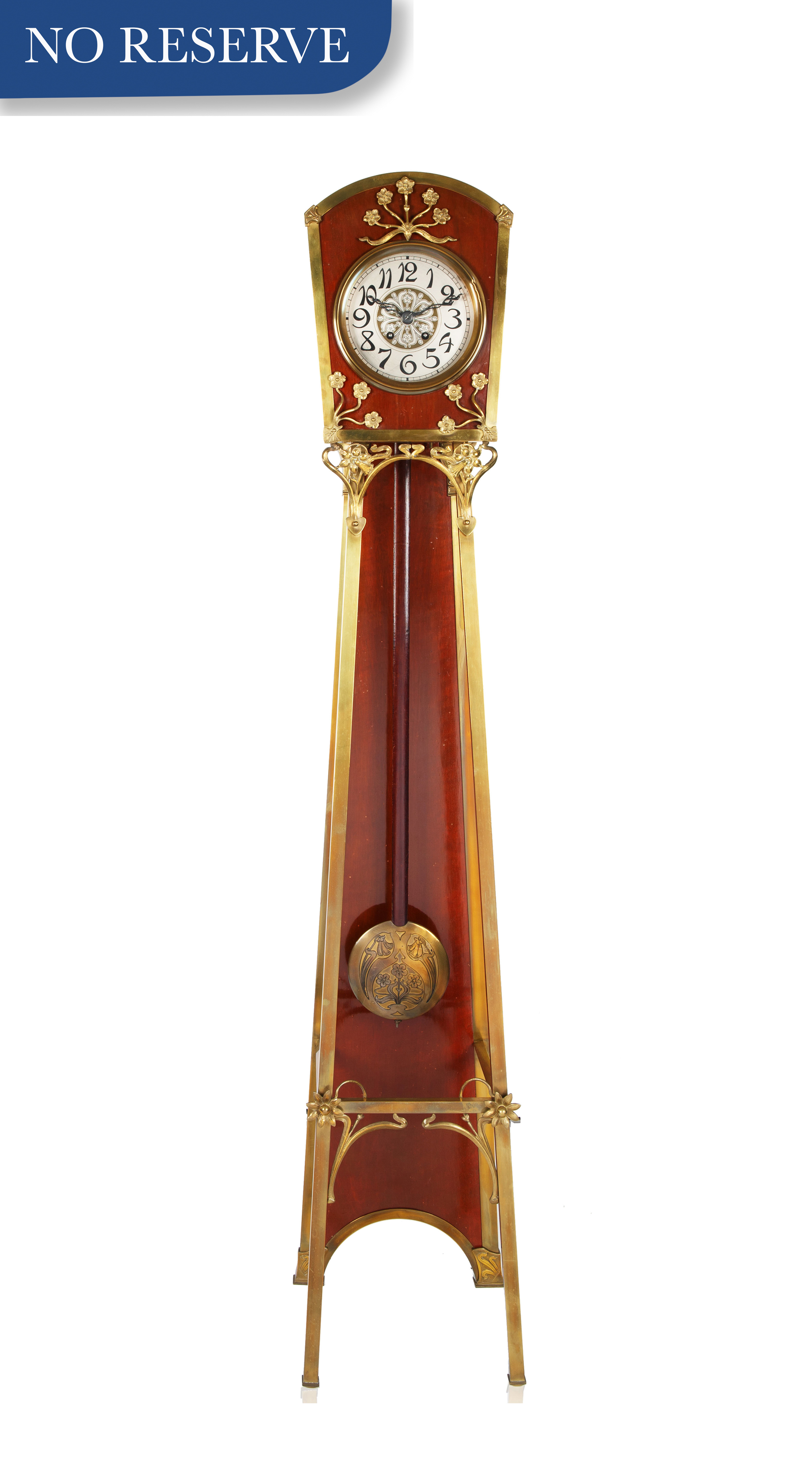 ART NOUVEAU STYLE WOOD AND BRASS GRANDFATHER CLOCK