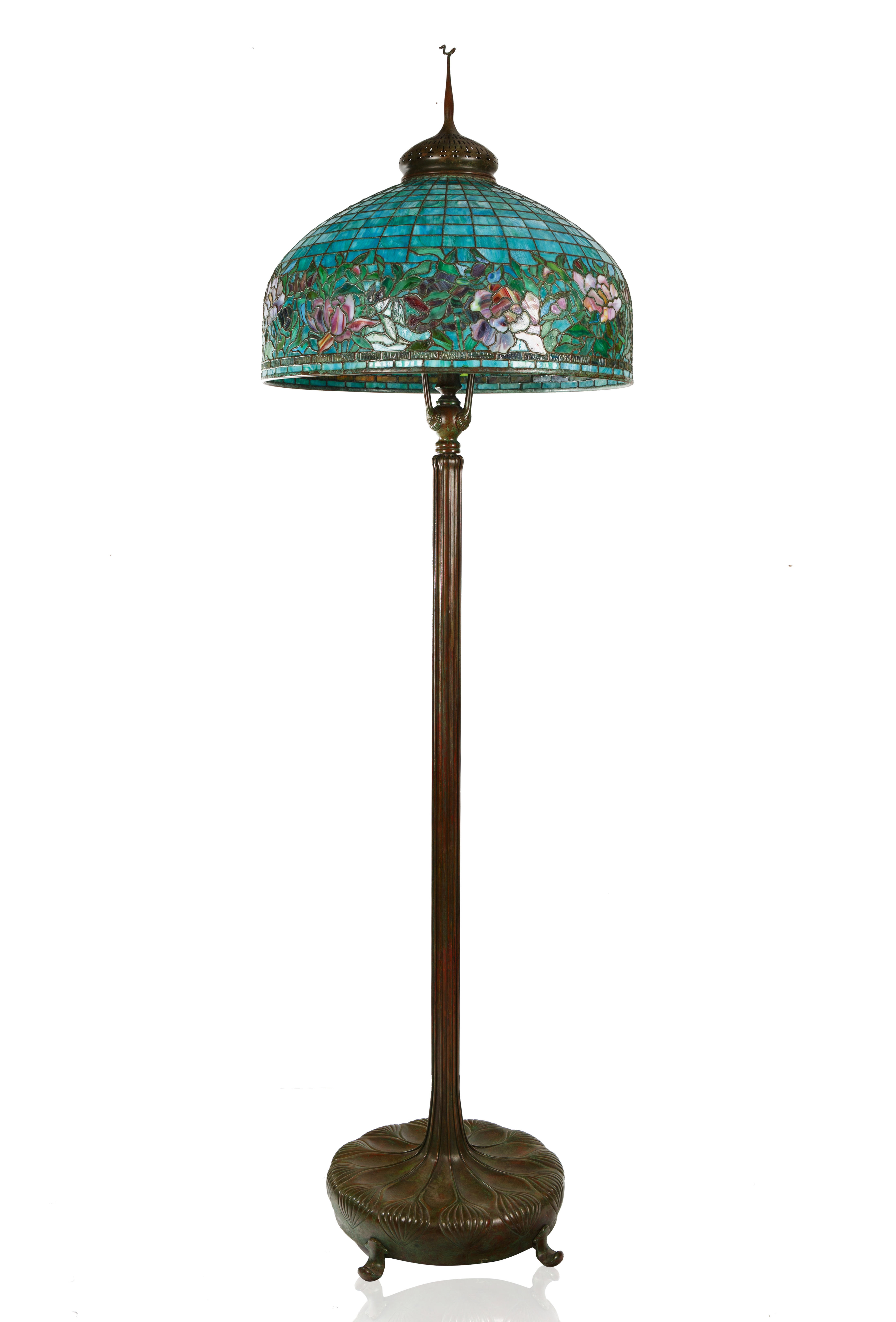 A MODERN TIFFANY & CO. STYLE STAINED GLASS 'PEONY' FLOOR LAMP