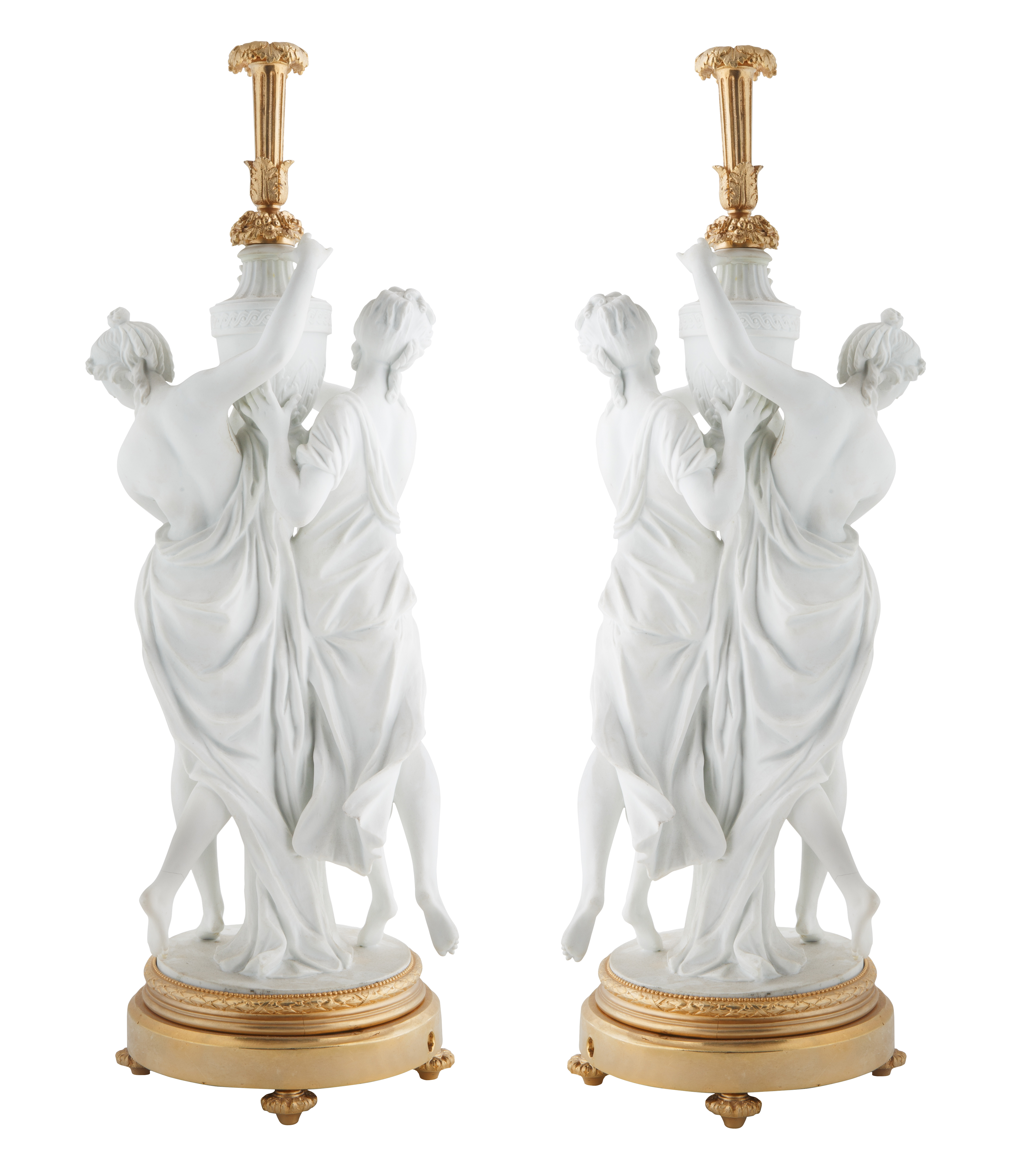 PAIR OF NEOCLASSICAL STYLE BISQUE CERAMIC MAIDEN LAMPS - Image 2 of 3
