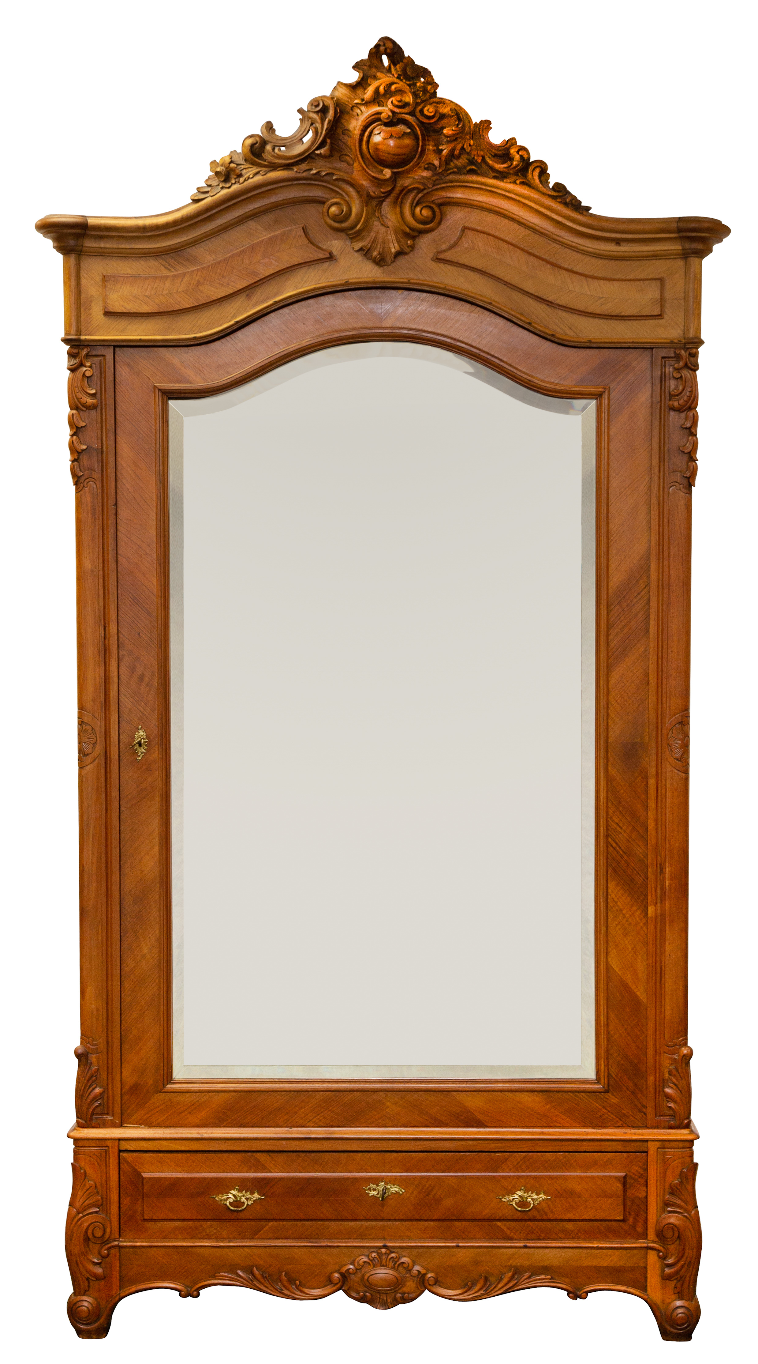 LATE 19TH CENTURY FRENCH REGENCE CARVED WALNUT OVERSIZED MIRRORED SINGLE DOOR ARMOIRE - Image 2 of 4