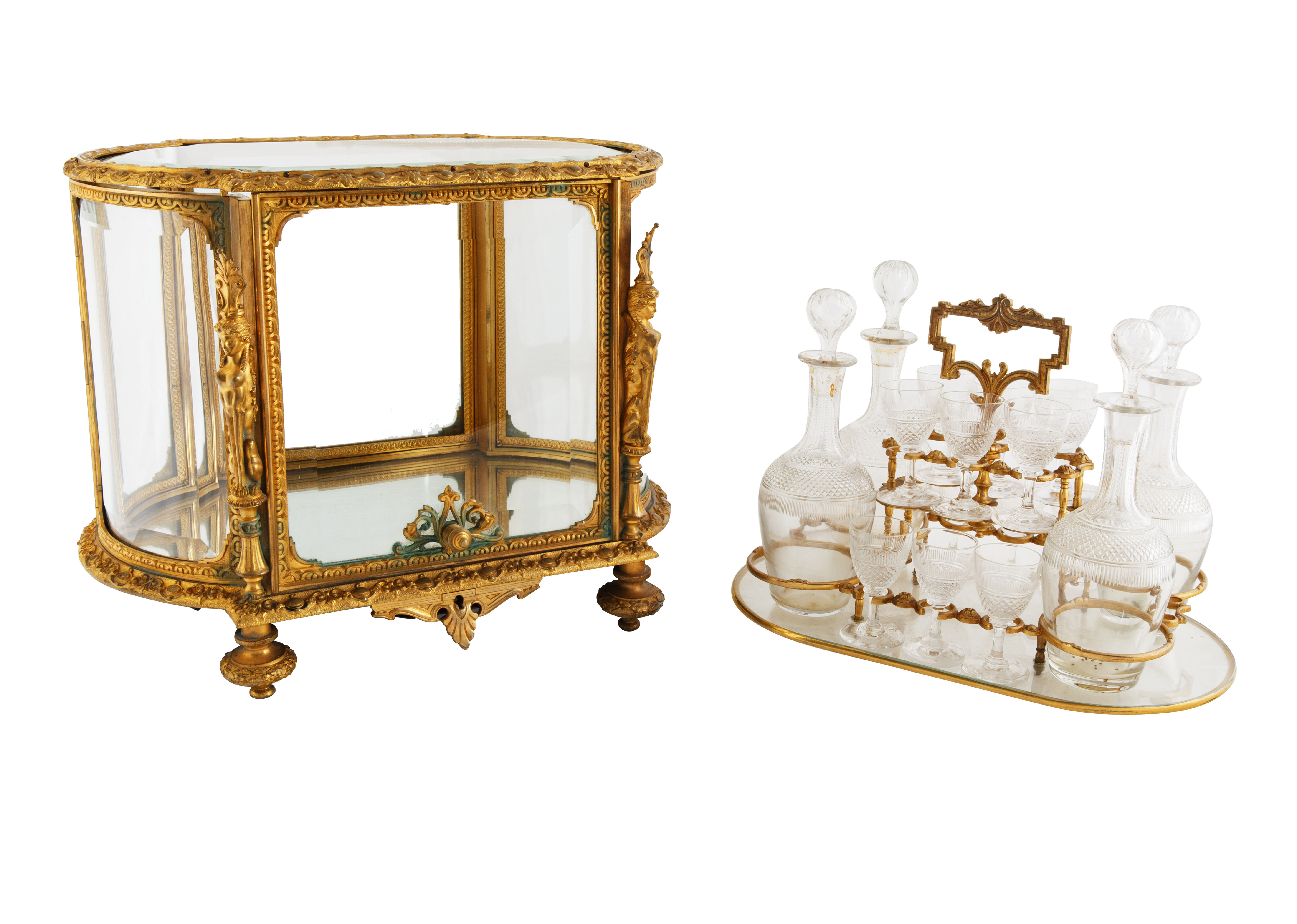 LATE 19TH-EARLY 20TH CENTURY FRENCH LOUIS XVI STYLE GILT BRONZE CAVE A LIQUEUR - Image 6 of 7