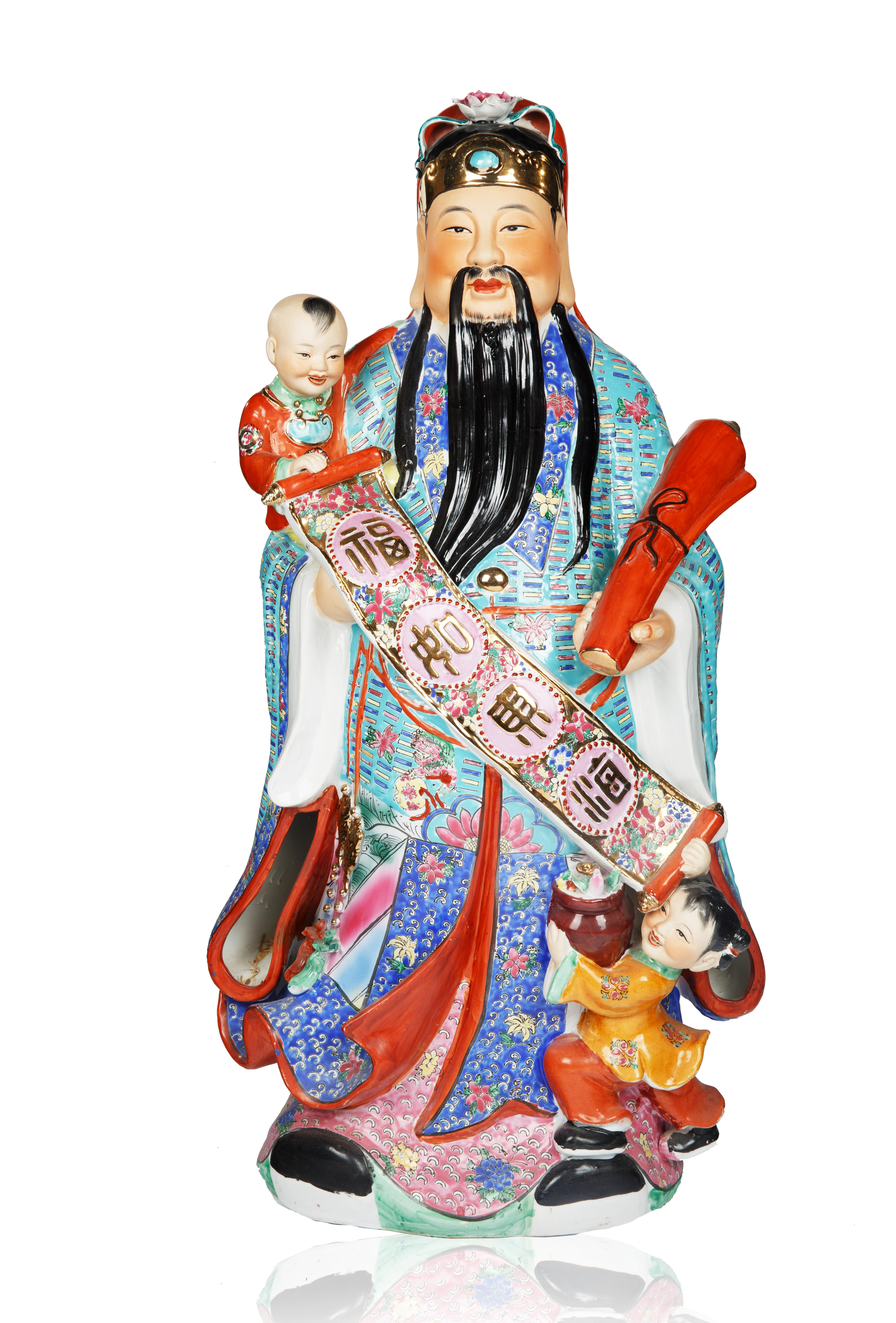 LARGE CHINESE PORCELAIN 'WISE MAN' OF PROSPERITY [FU] FIGURINE