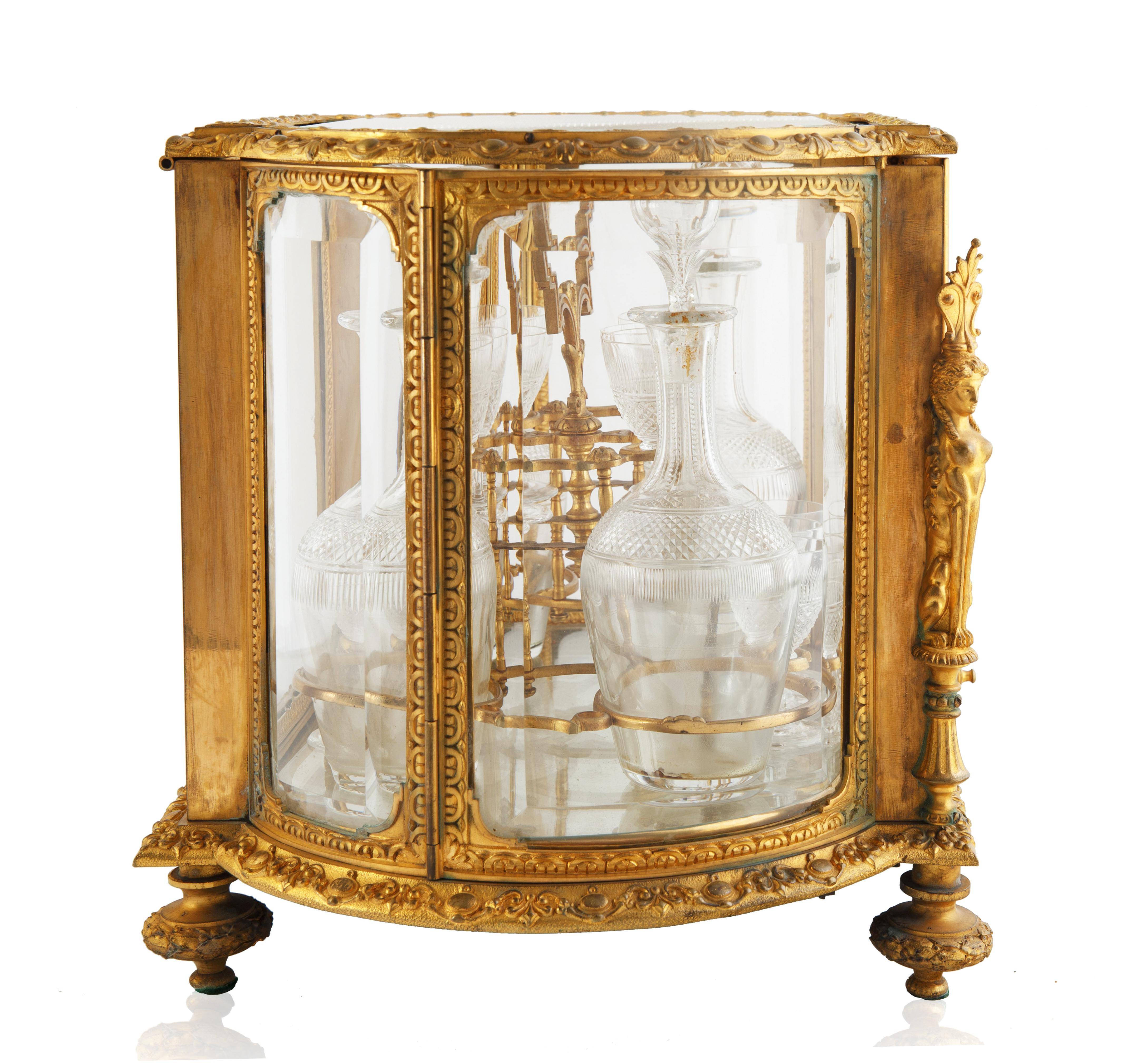 LATE 19TH-EARLY 20TH CENTURY FRENCH LOUIS XVI STYLE GILT BRONZE CAVE A LIQUEUR - Image 4 of 7