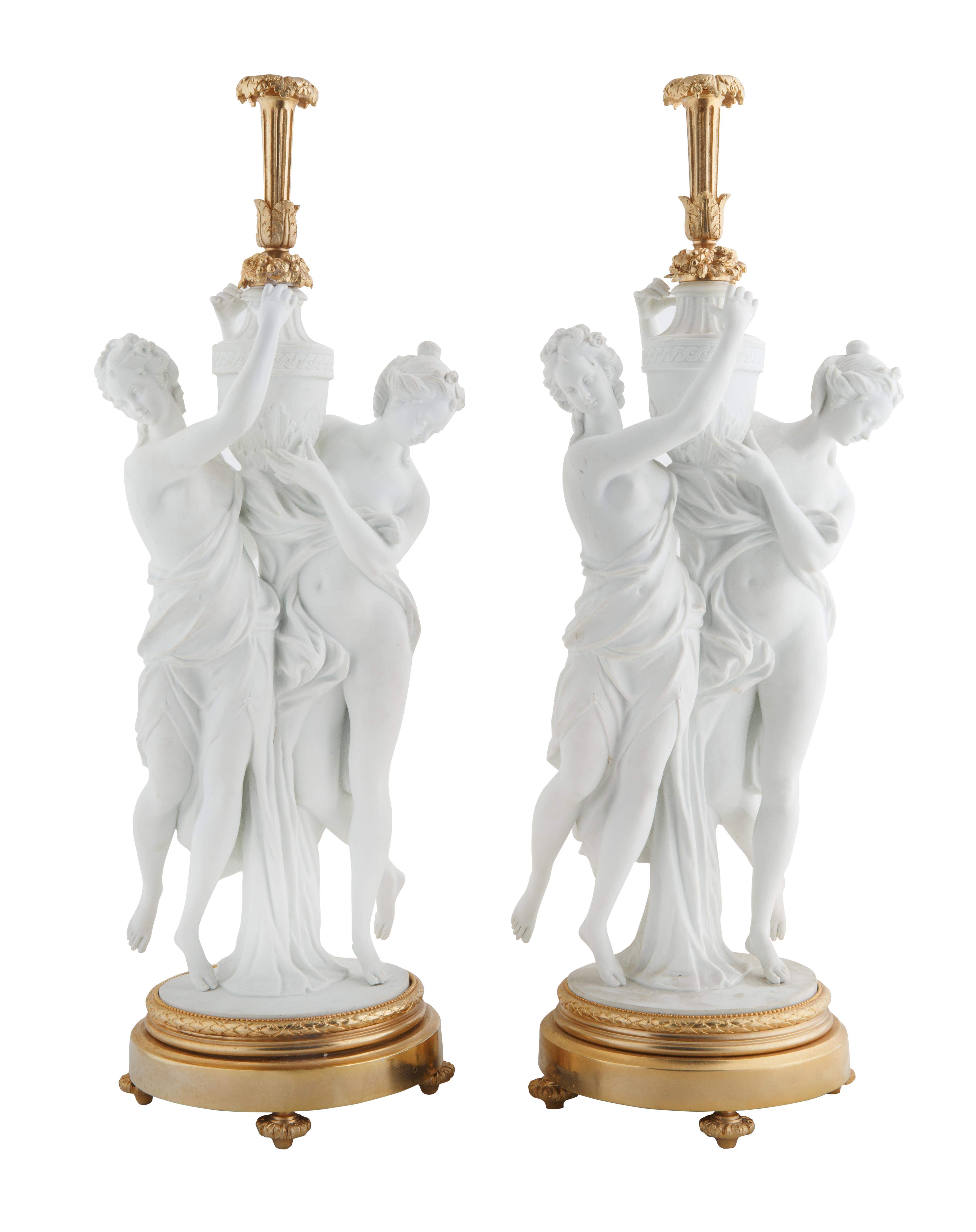 PAIR OF NEOCLASSICAL STYLE BISQUE CERAMIC MAIDEN LAMPS