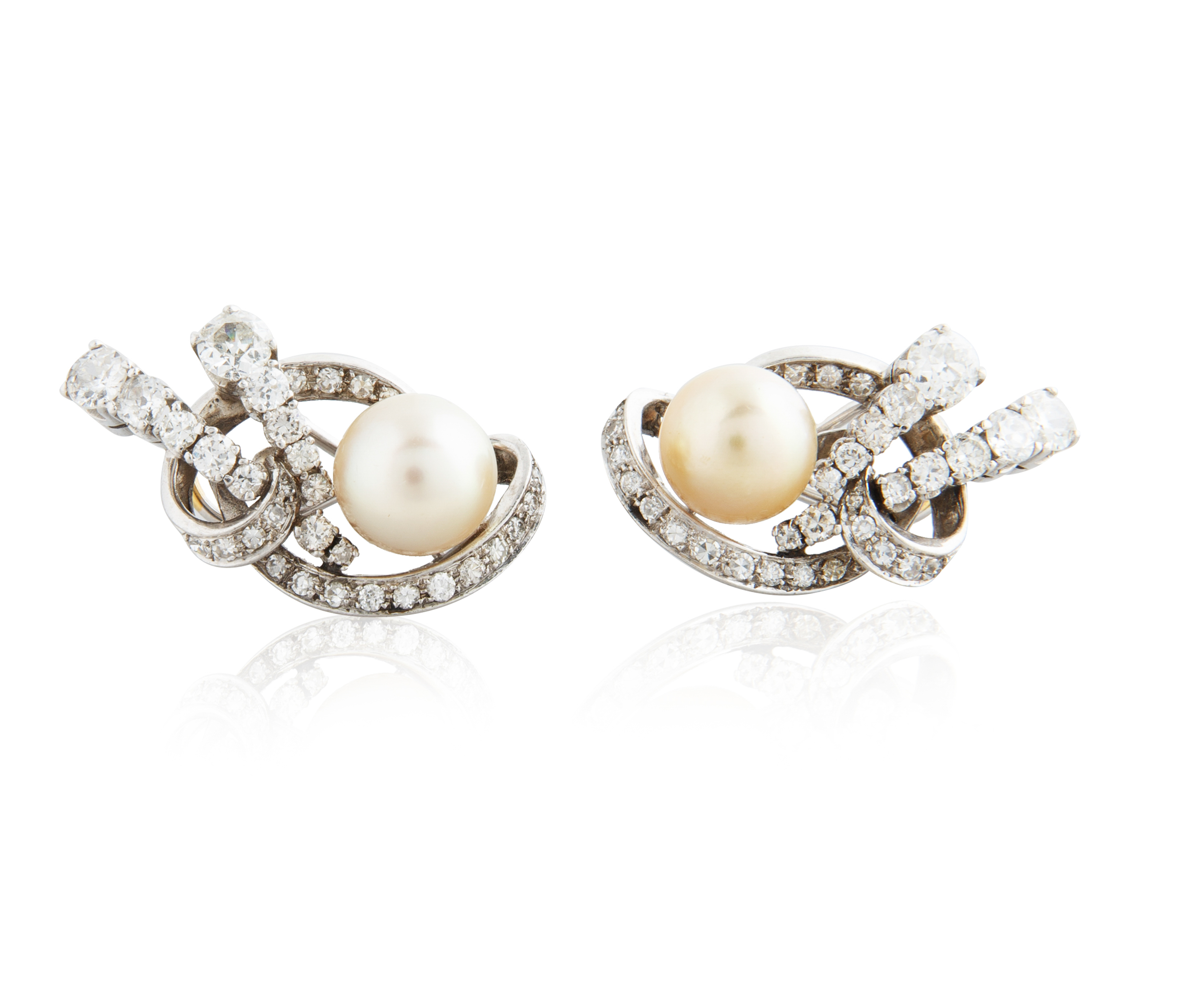 PAIR OF CULTURED YELLOW PEARL, DIAMOND AND WHITE GOLD EARRINGS