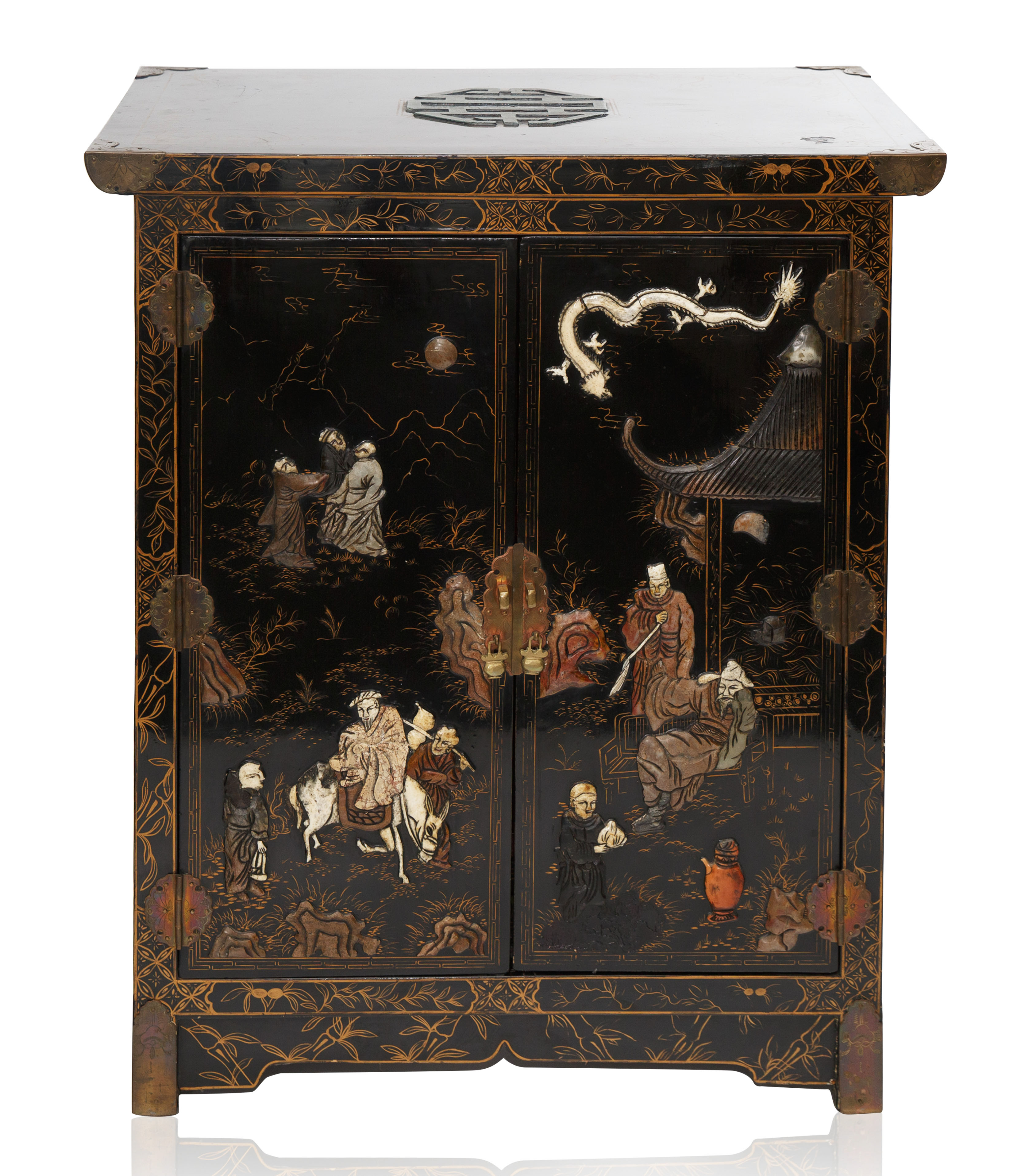 A MEIJI PERIOD JAPANESE EBONISED LACQUER CABINET - Image 2 of 4