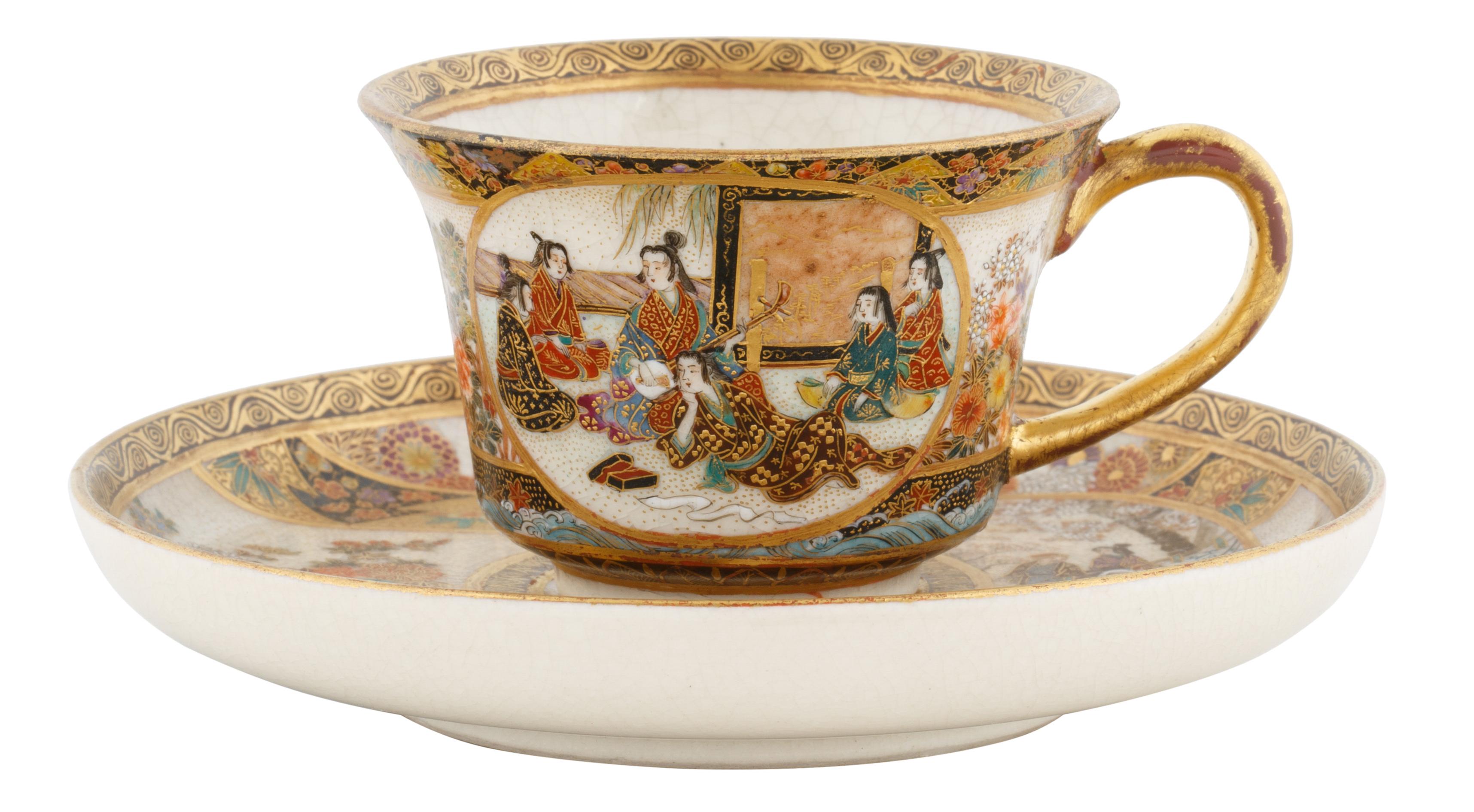 19TH CENTURY SATSUMA PORCELAIN TEA CUP AND SAUCER