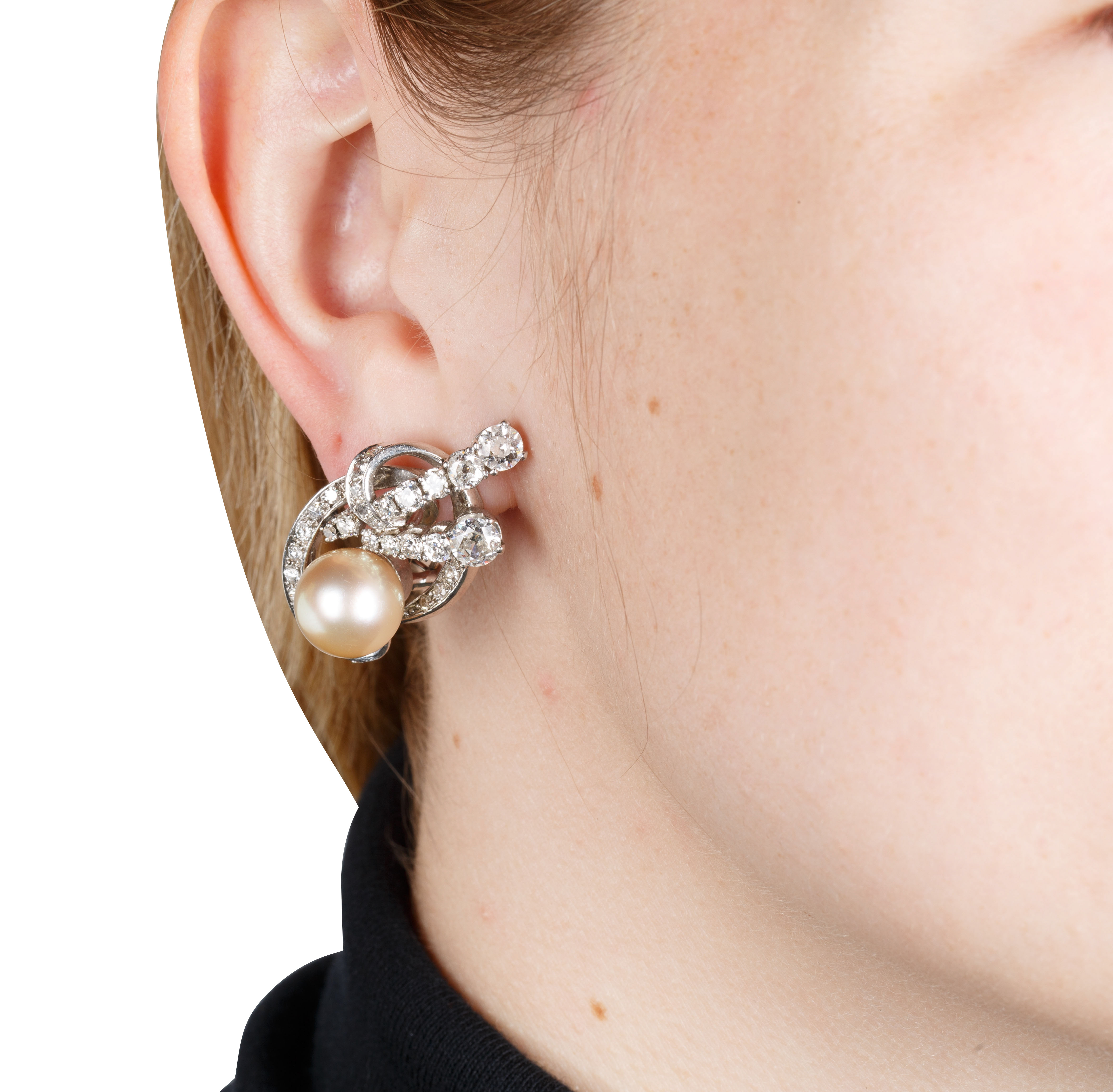 PAIR OF CULTURED YELLOW PEARL, DIAMOND AND WHITE GOLD EARRINGS - Image 5 of 5
