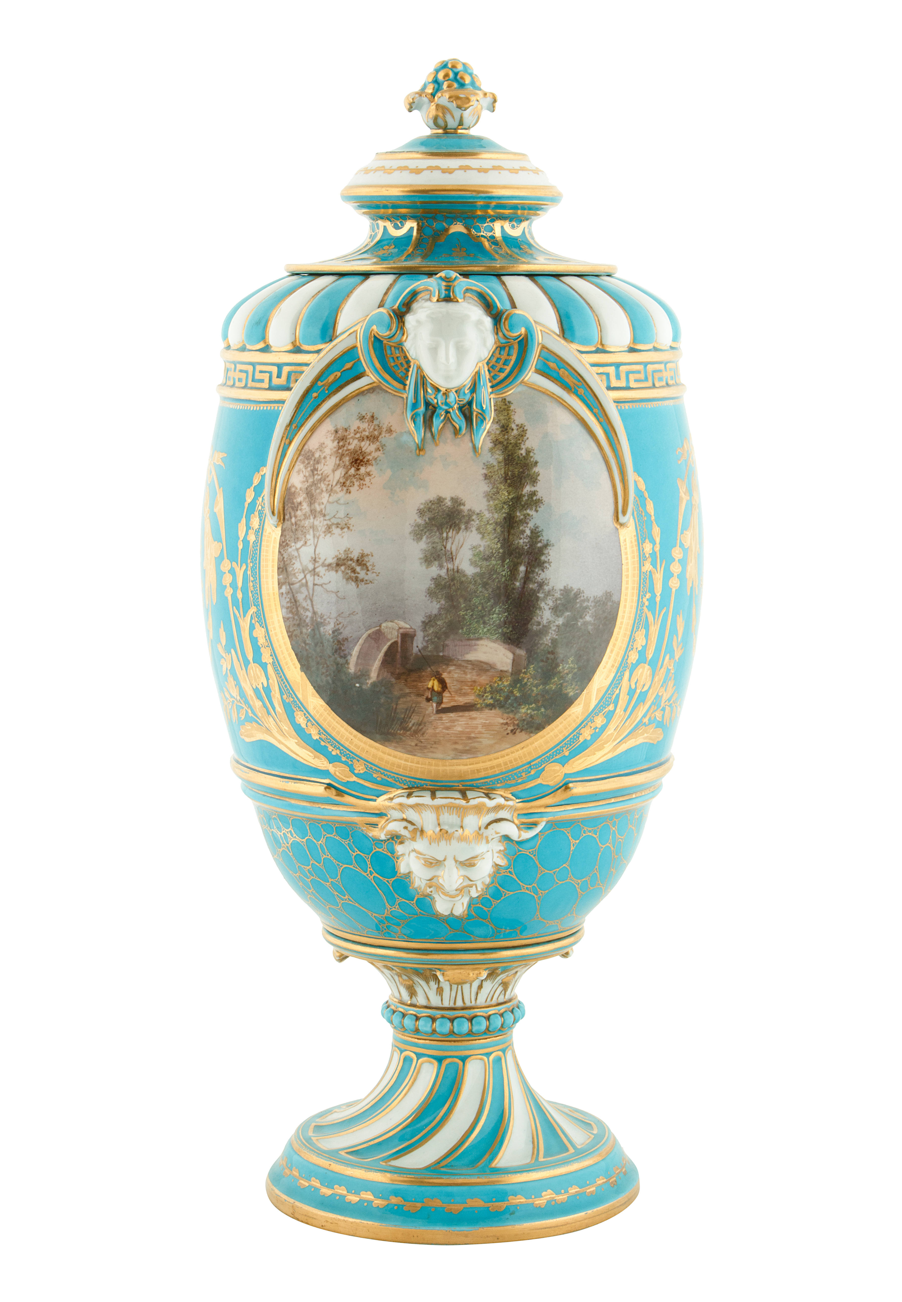 19TH CENTURY FRENCH SEVRE-STYLE PORCELAIN URNS - Image 3 of 6