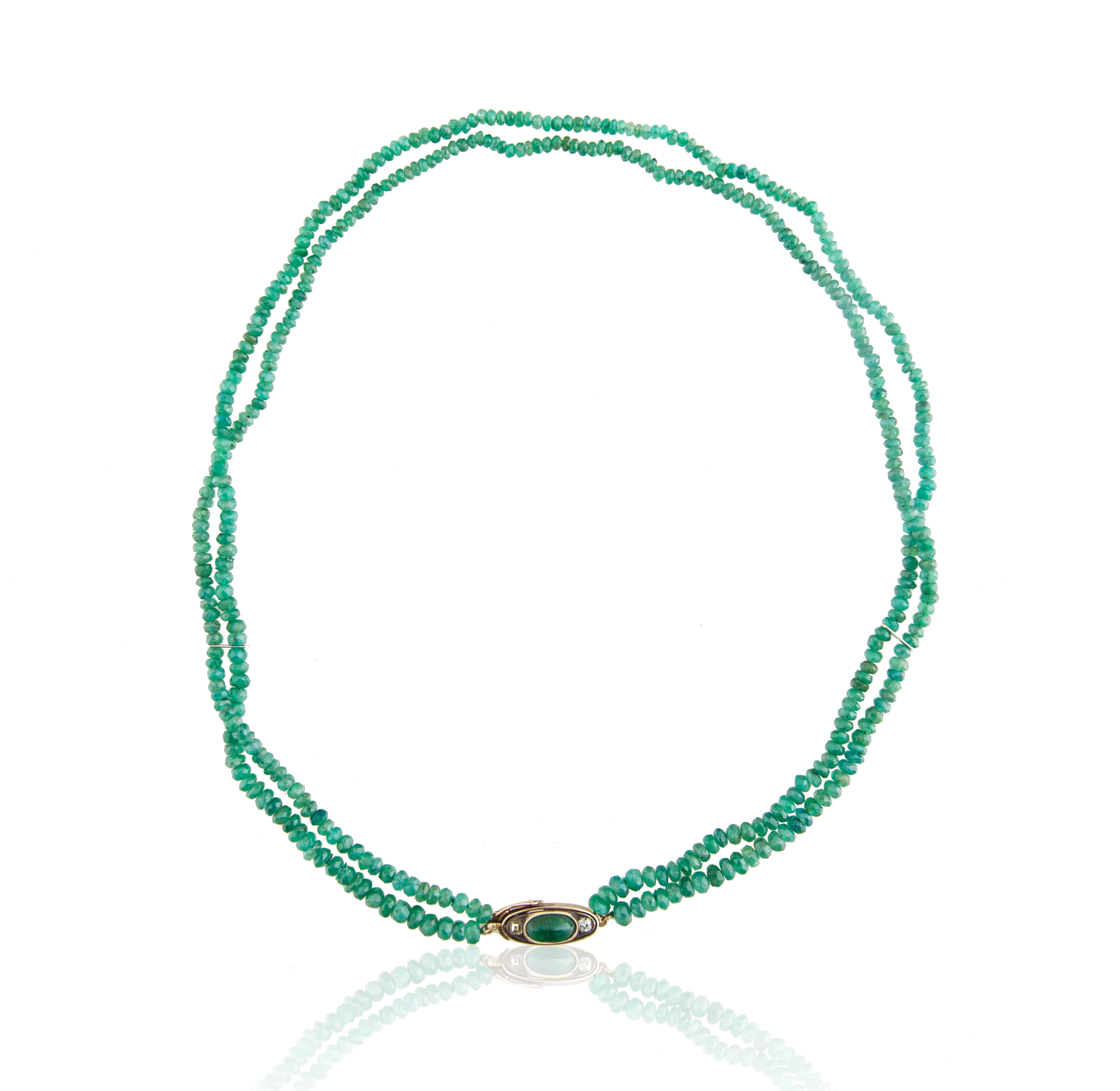 AN EMERALD, DIAMOND AND JADEITE BEADED NECKLACE, LIKELY FRENCH
