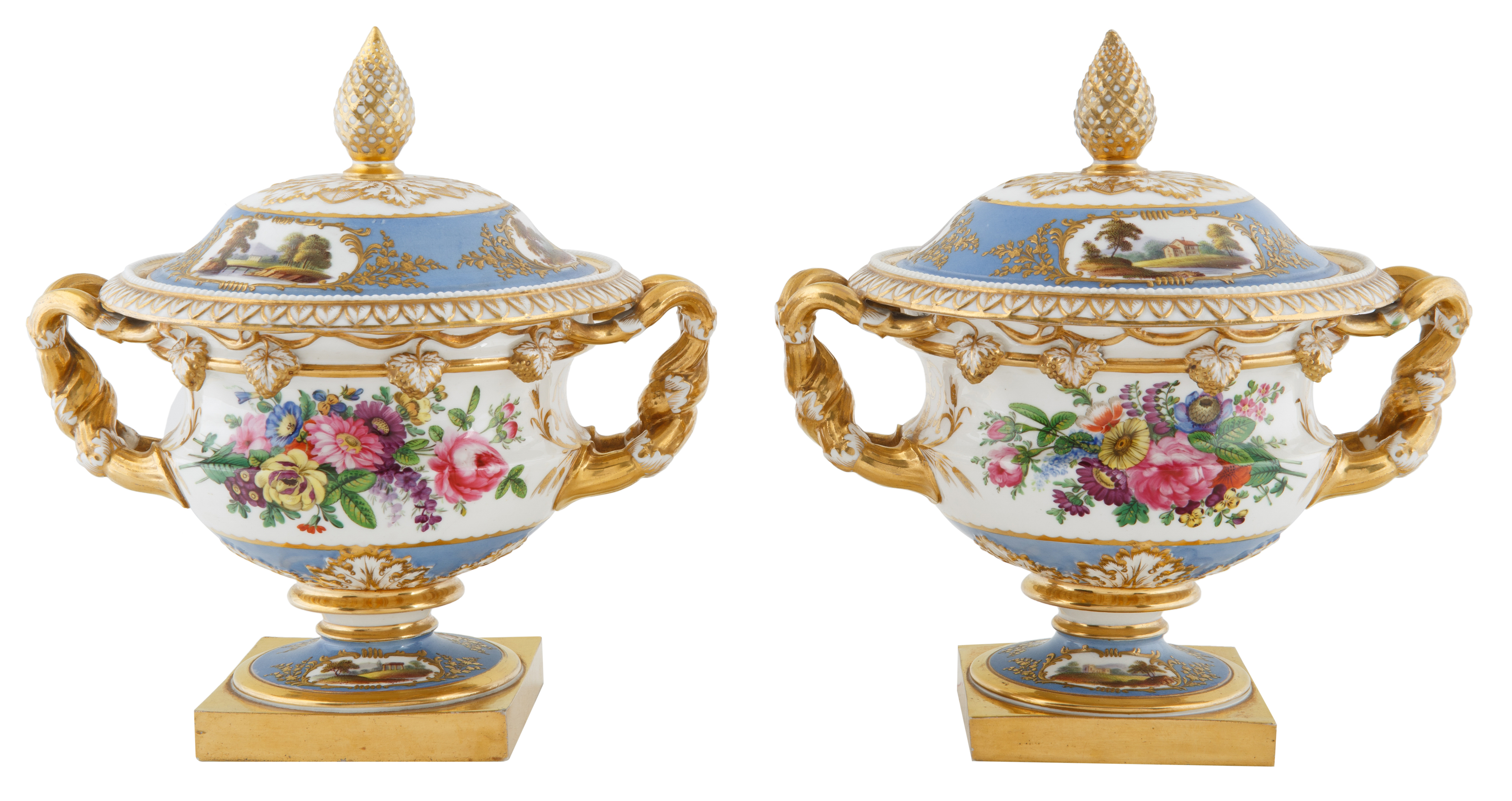 CONTINENTAL PORCELAIN COVERED URNS - Image 2 of 3