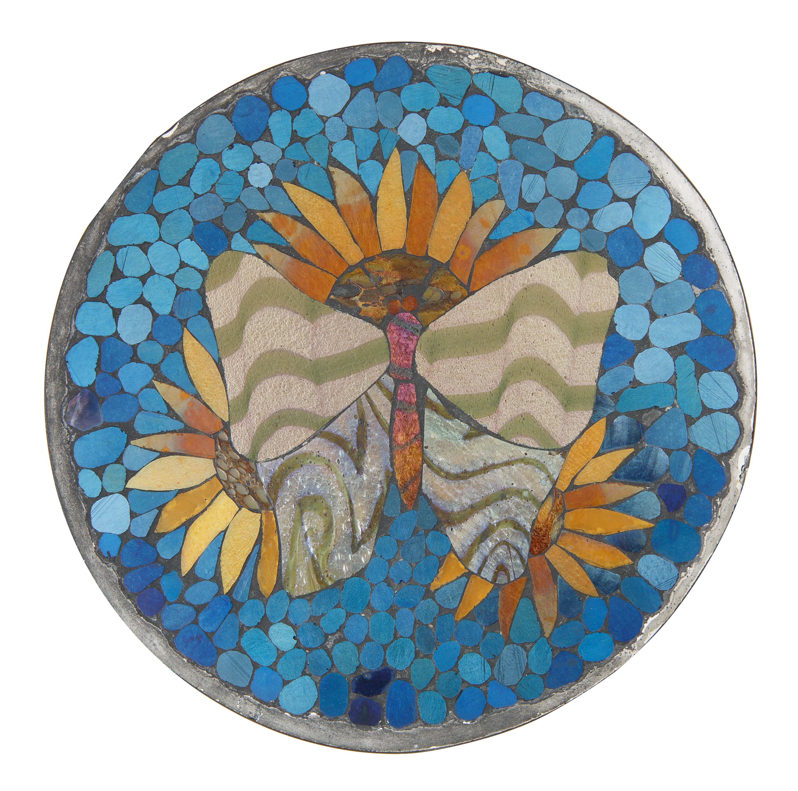 20TH CENTURY 'SUNFLOWER AND BUTTERFLY' TRIVET - Image 2 of 4