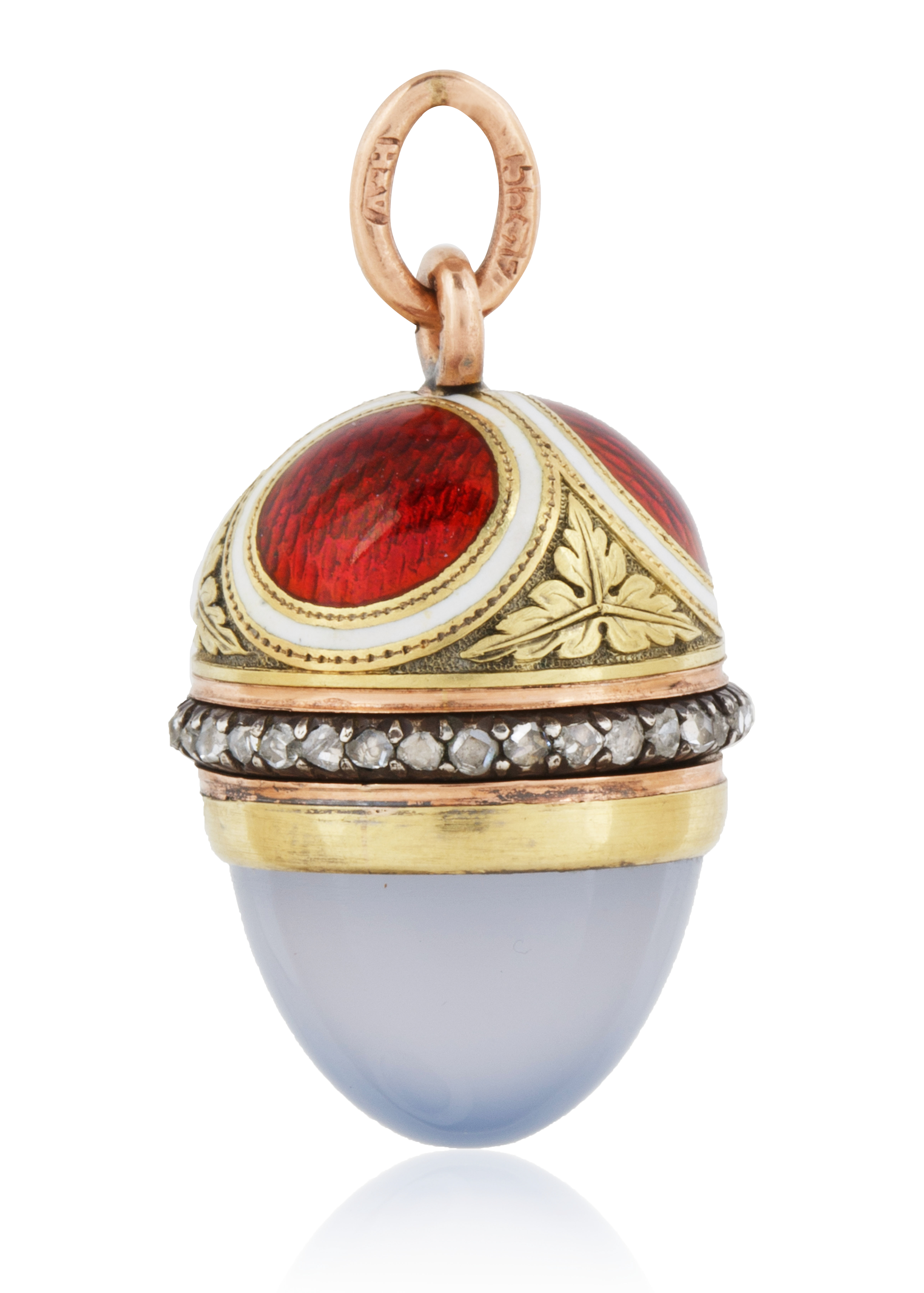 A 1908-1912 FABERGE AUGUST HOLLMING RUSSIAN GOLD, DIAMOND, MOONSTONE AND ENAMEL EGG PENDANT, ST. PET - Image 2 of 4
