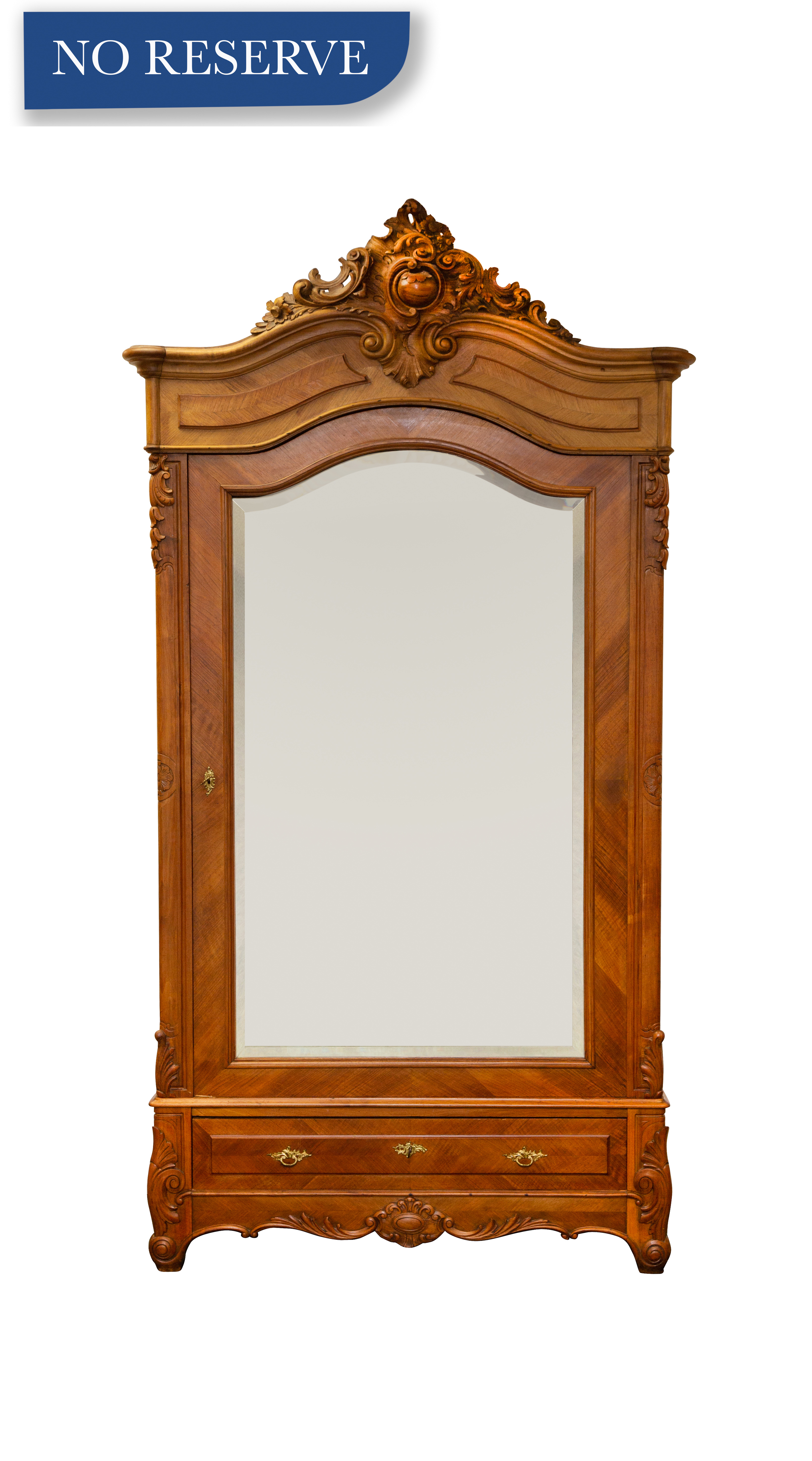 LATE 19TH CENTURY FRENCH REGENCE CARVED WALNUT OVERSIZED MIRRORED SINGLE DOOR ARMOIRE