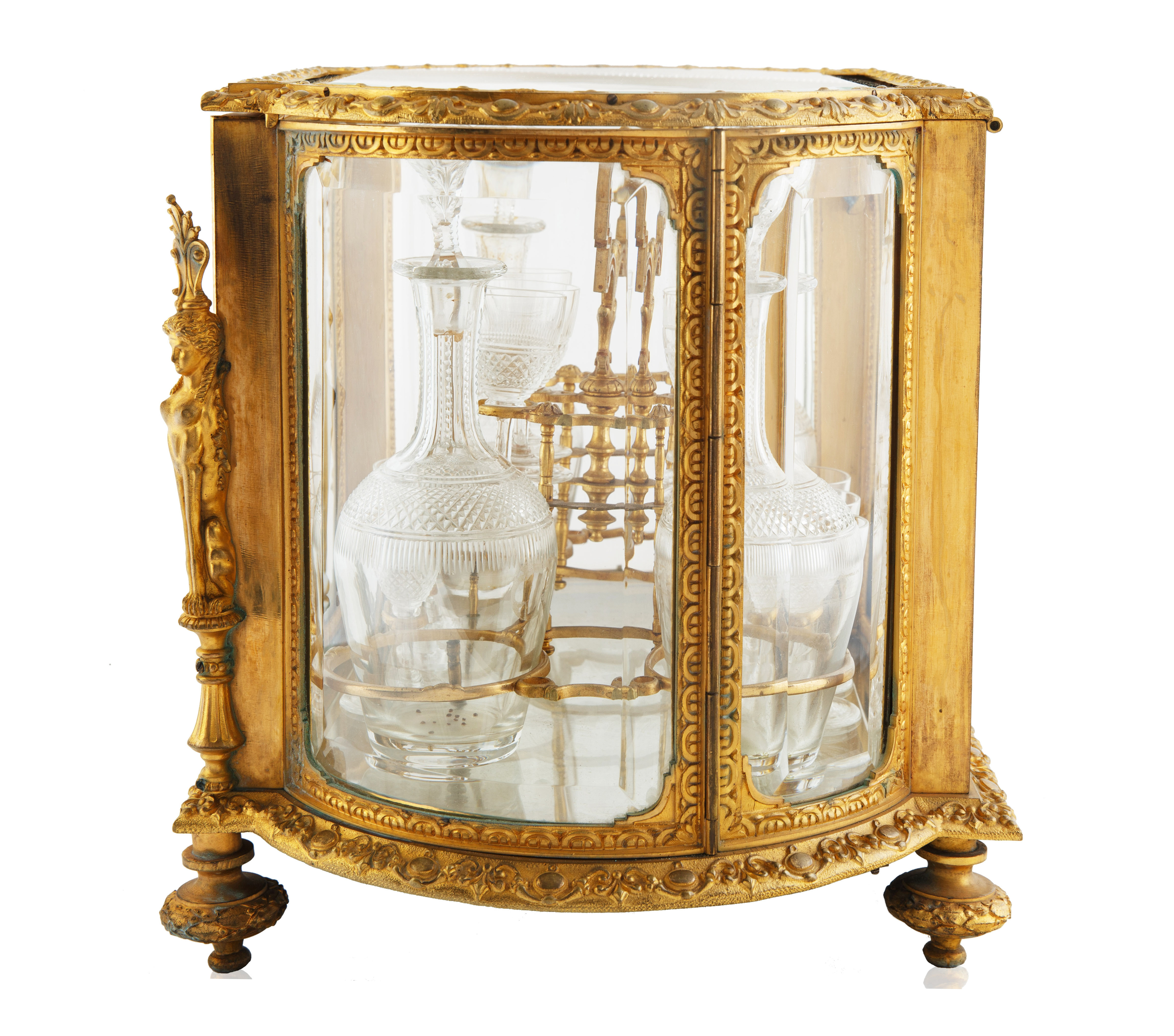 LATE 19TH-EARLY 20TH CENTURY FRENCH LOUIS XVI STYLE GILT BRONZE CAVE A LIQUEUR - Image 2 of 7