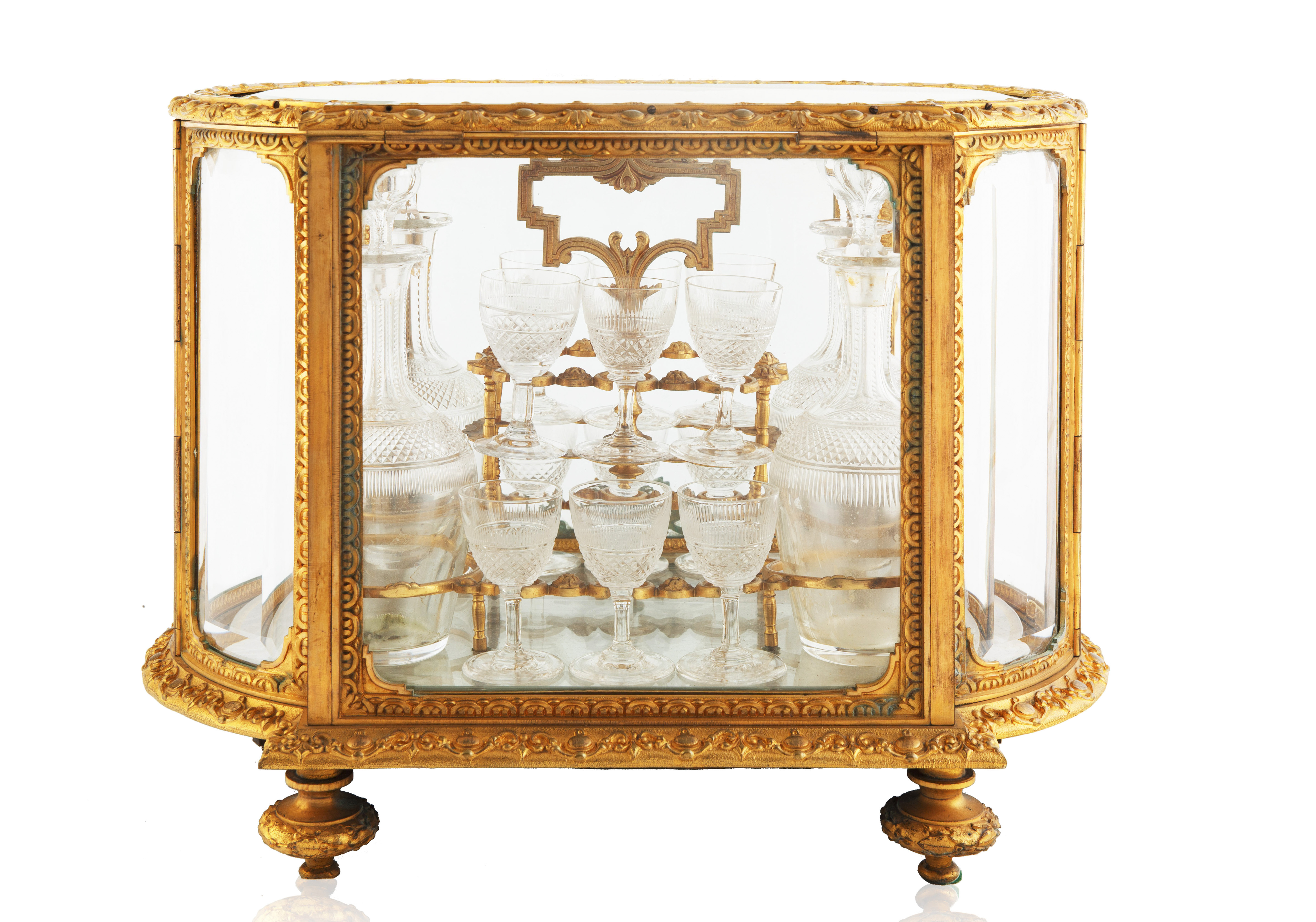 LATE 19TH-EARLY 20TH CENTURY FRENCH LOUIS XVI STYLE GILT BRONZE CAVE A LIQUEUR - Image 3 of 7