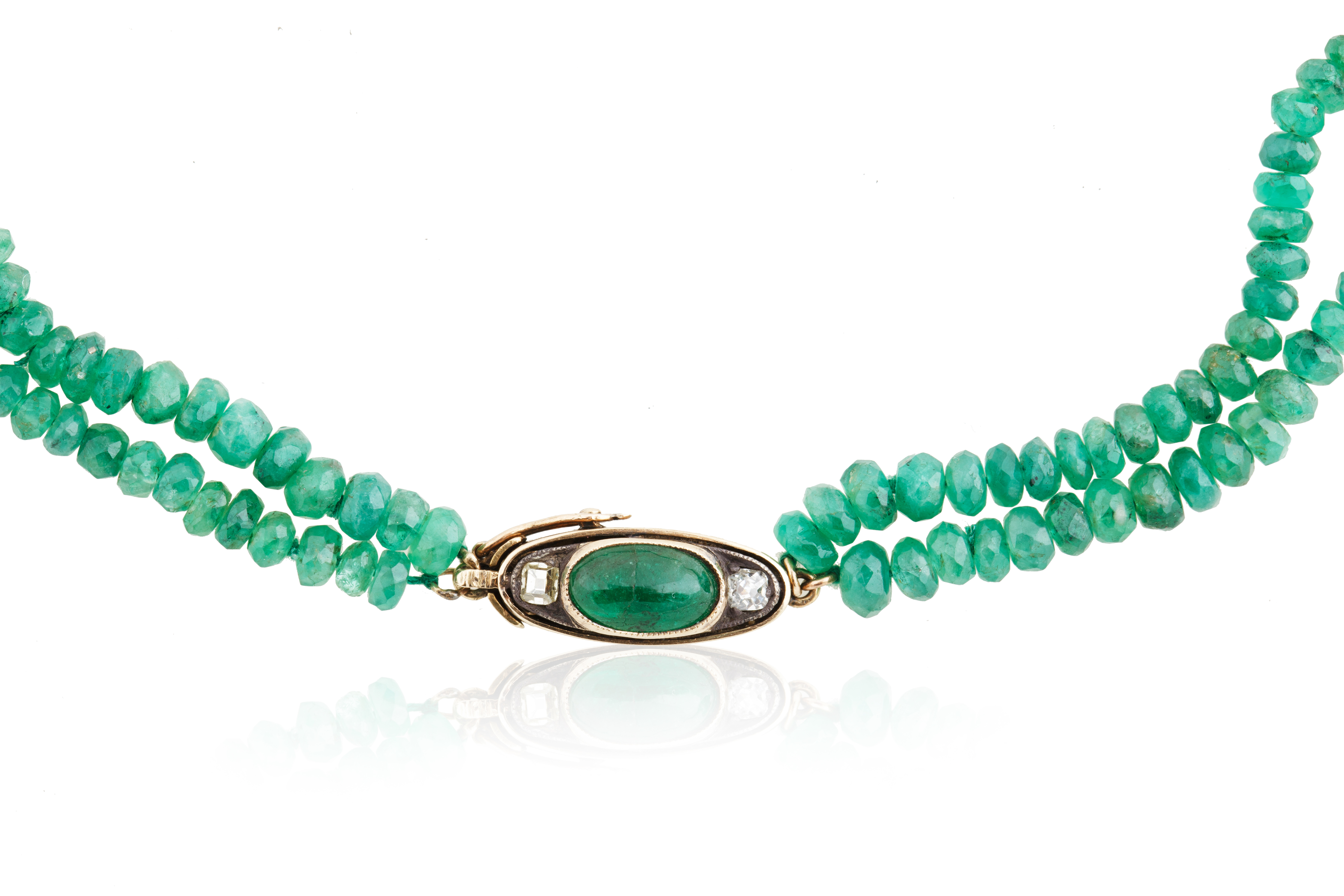 AN EMERALD, DIAMOND AND JADEITE BEADED NECKLACE, LIKELY FRENCH - Image 2 of 5