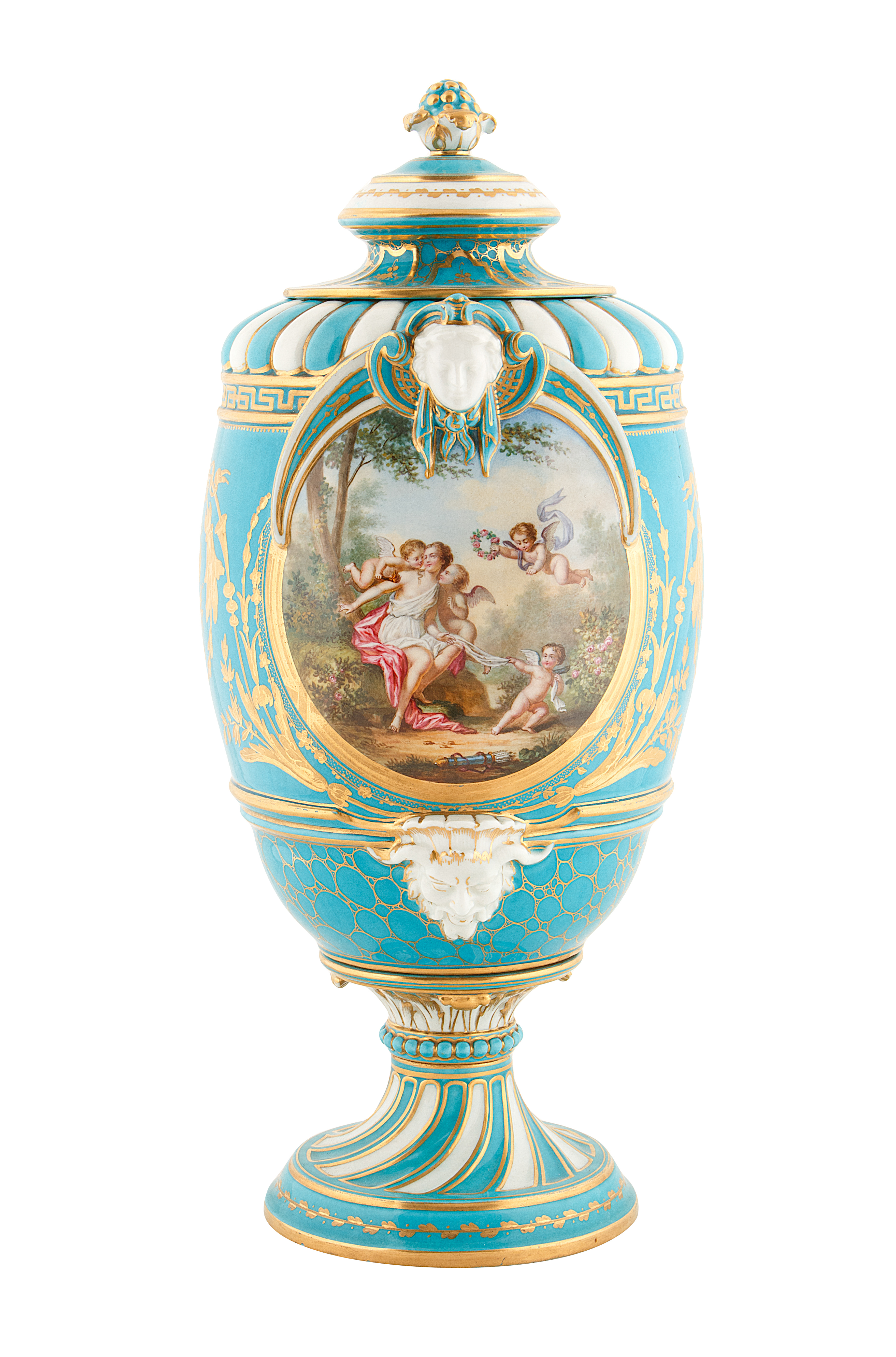 19TH CENTURY FRENCH SEVRE-STYLE PORCELAIN URNS - Image 2 of 6