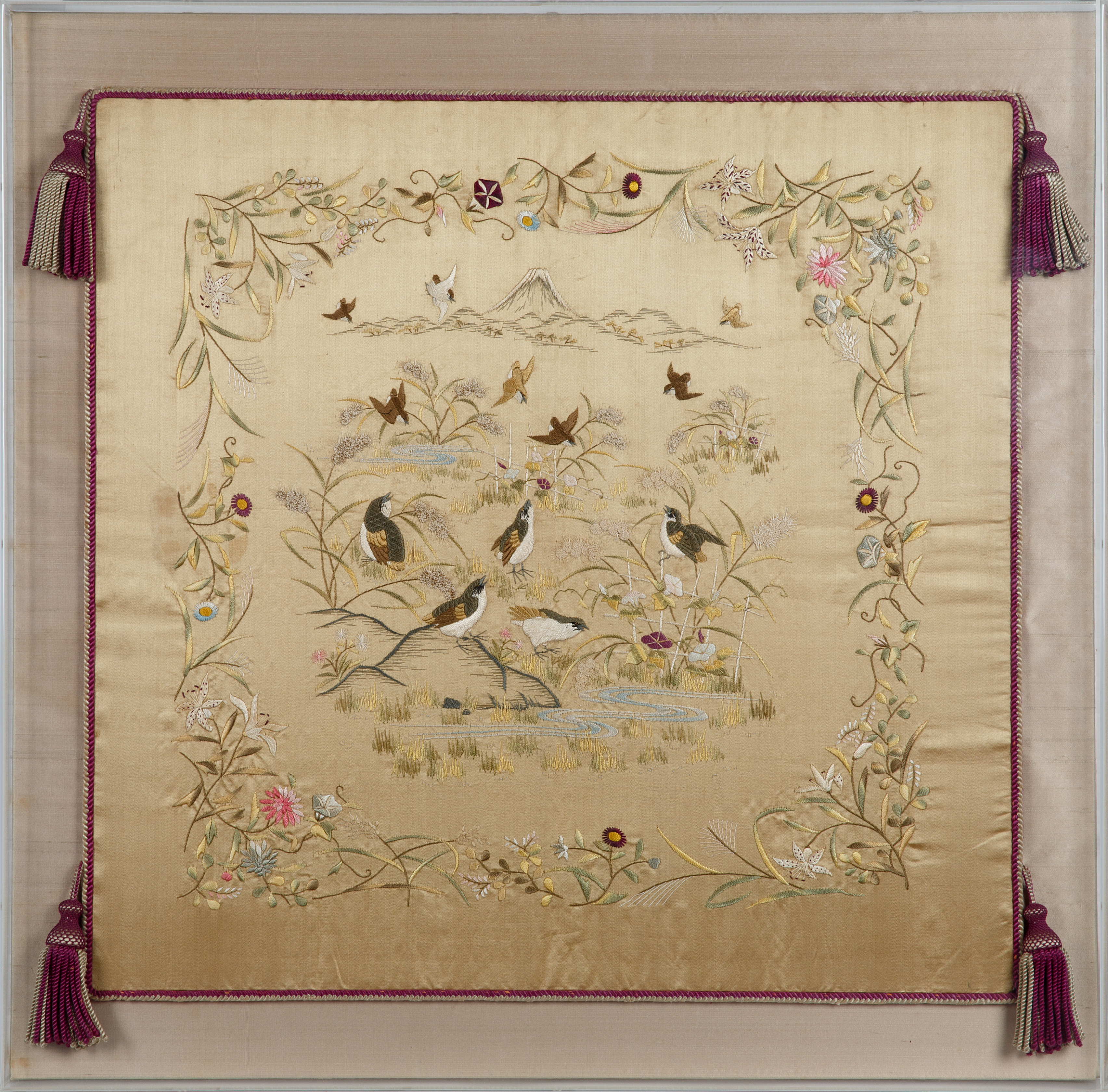 JAPANESE-STYLE FLOWER AND BIRD SILK EMBROIDERY - Image 3 of 5