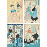LATE 19TH CENTURY GROUP OF FOUR JAPANESE WOODBLOCK PRINTS