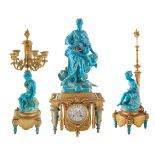 A LATE 19TH MINTONS OR MINTONS-STYLE THREE-PIECE PORCELAIN DESK CLOCK