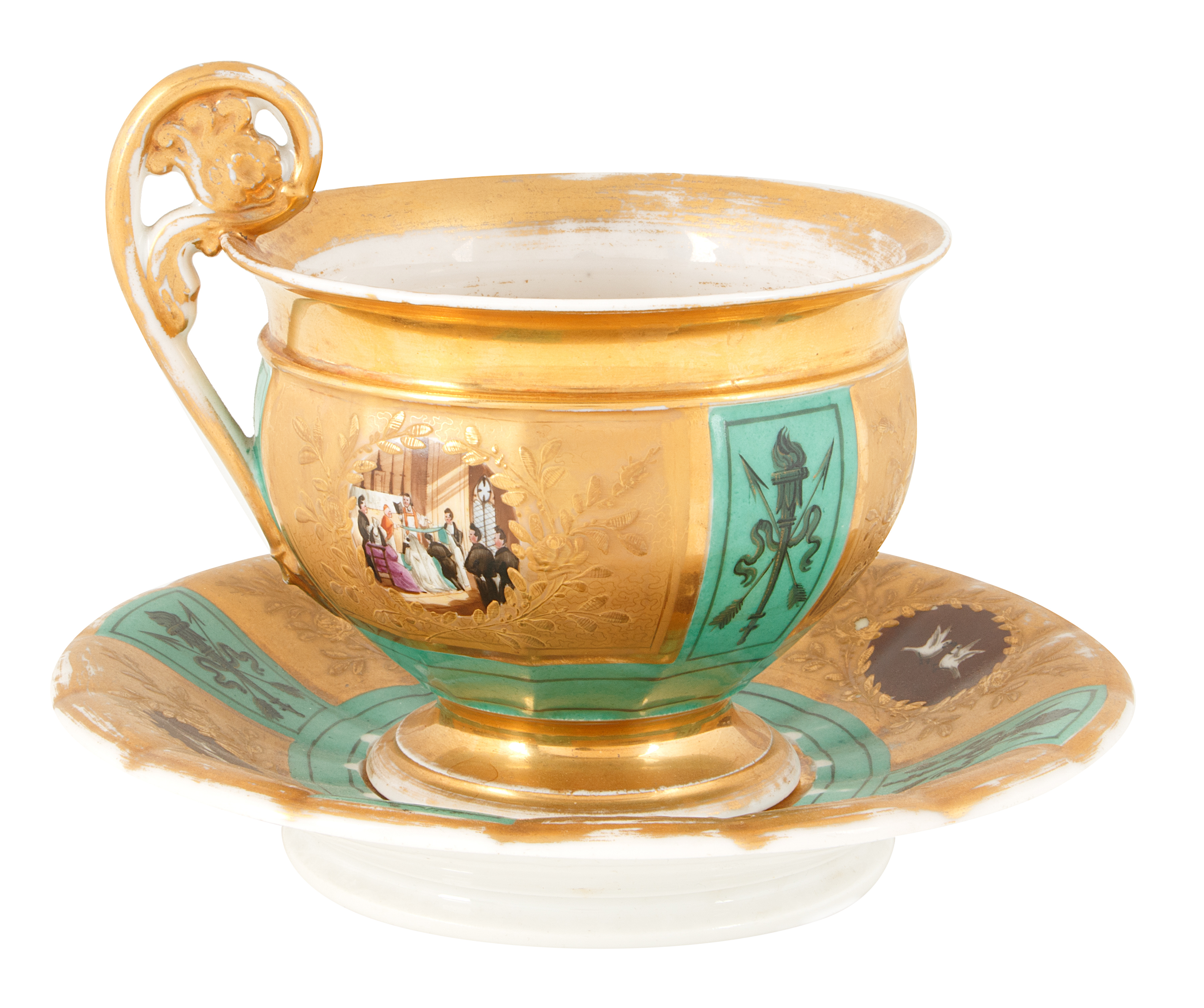 19TH CENTURY GILT PORCELAIN TEA CUP AND SAUCER - Image 2 of 5