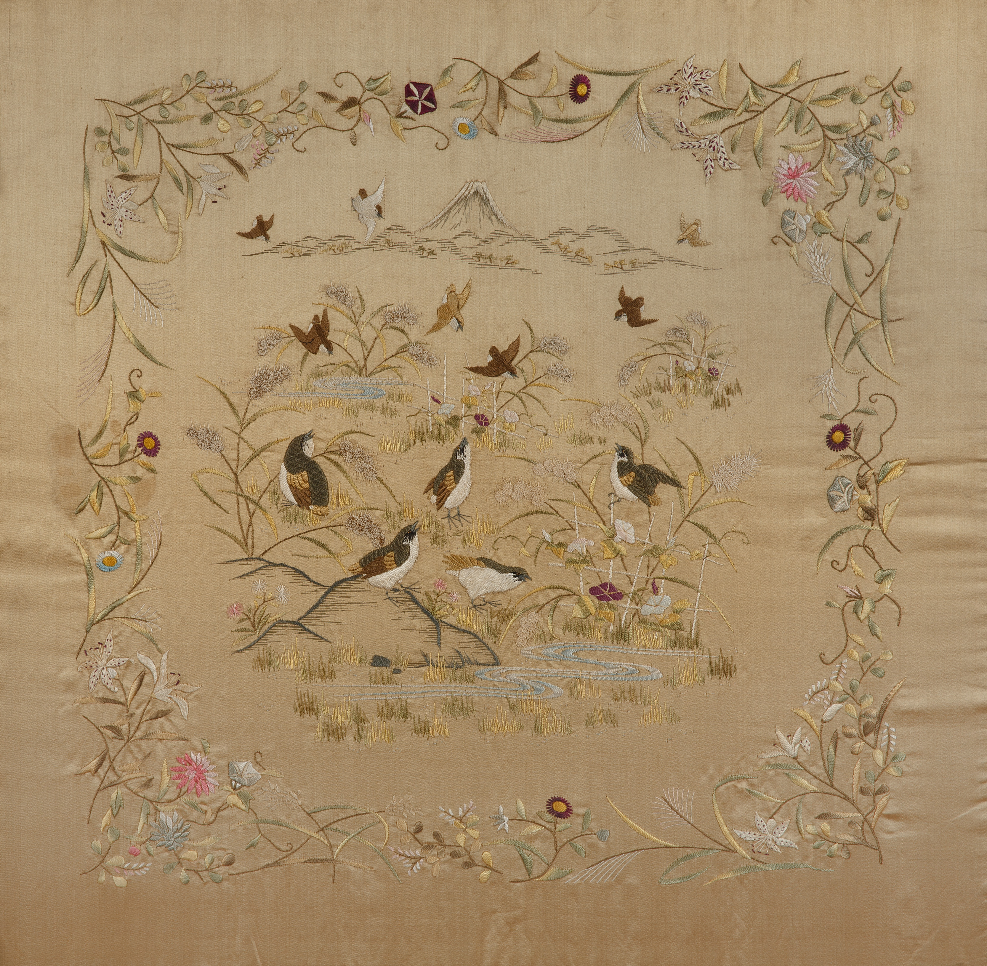 JAPANESE-STYLE FLOWER AND BIRD SILK EMBROIDERY - Image 2 of 5